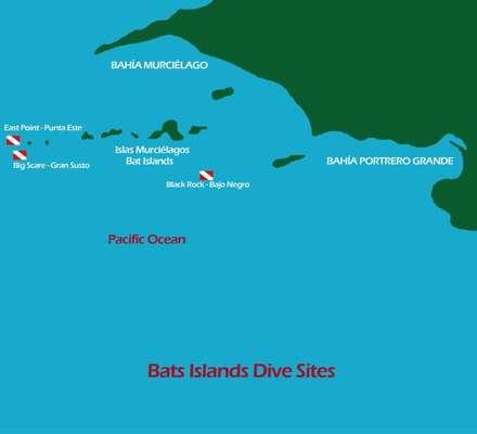 Dive site map Bat islands (Islas Murcielago)