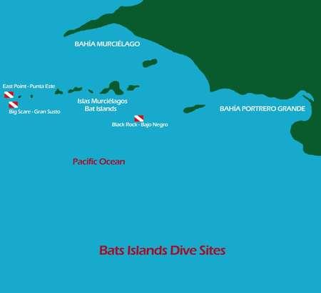 Tauchplatzkarte der Bat islands - Islas Murcielago - Fledermausinseln