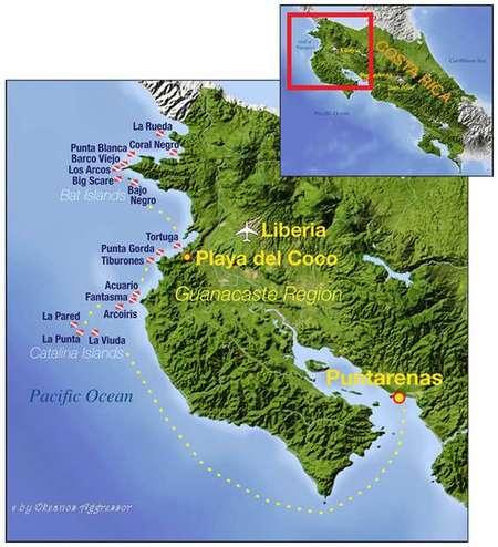 Reiseroute Guanacaste und Bat islands der Okeanos Aggressor