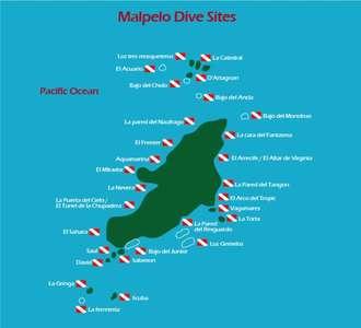 Dive site map Malpelo island