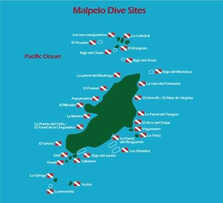 Tauchplatzkarte Insel Malpelo